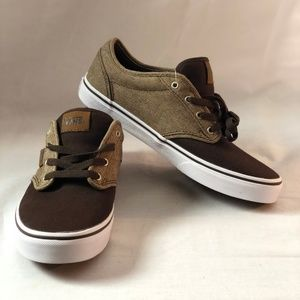 Vans Atwood Mixed Khaki/Brown Skate Shoes 6 Y